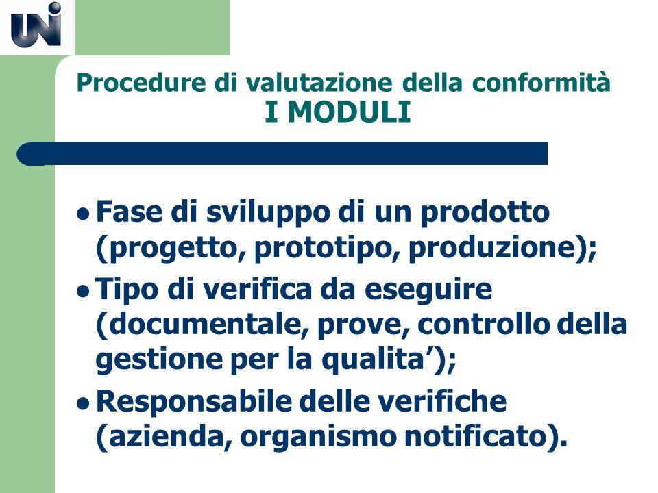 Procedure di valutazione della conformità I MODULI Fase di sviluppo di un prodotto (progetto, prototipo, produzione); Tipo di verifica da eseguire (do