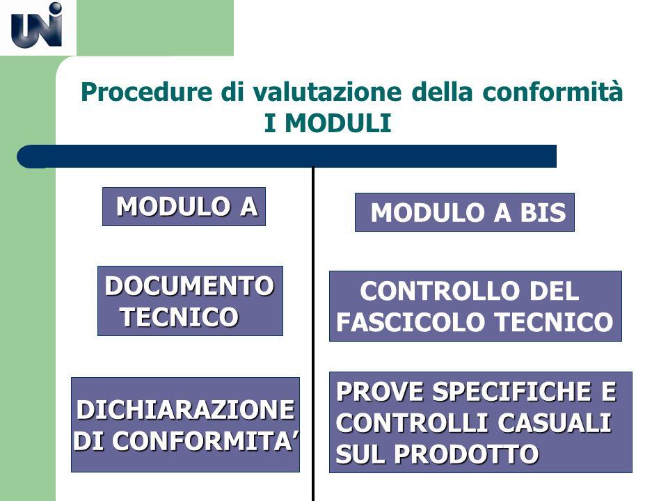 Procedure di valutazione della conformità I MODULI MODULO A MODULO A DOCUMENTO TECNICO TECNICO MODULO A BIS CONTROLLO DEL FASCICOLO TECNICO PROVE SPEC