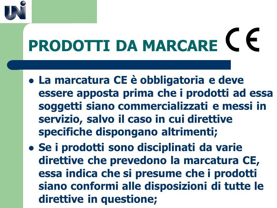 PRODOTTI DA MARCARE La marcatura CE è obbligatoria e deve essere apposta prima che i prodotti ad essa soggetti siano commercializzati e messi in servi