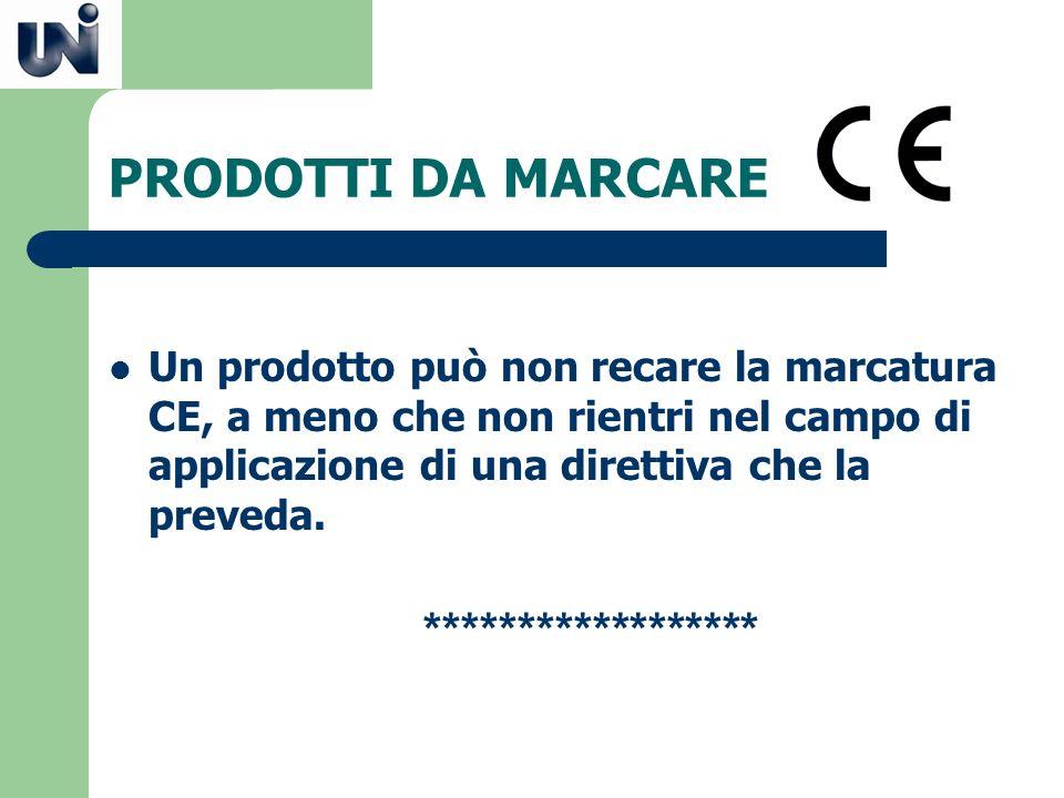PRODOTTI DA MARCARE Un prodotto può non recare la marcatura CE, a meno che non rientri nel campo di applicazione di una direttiva che la preveda. ****