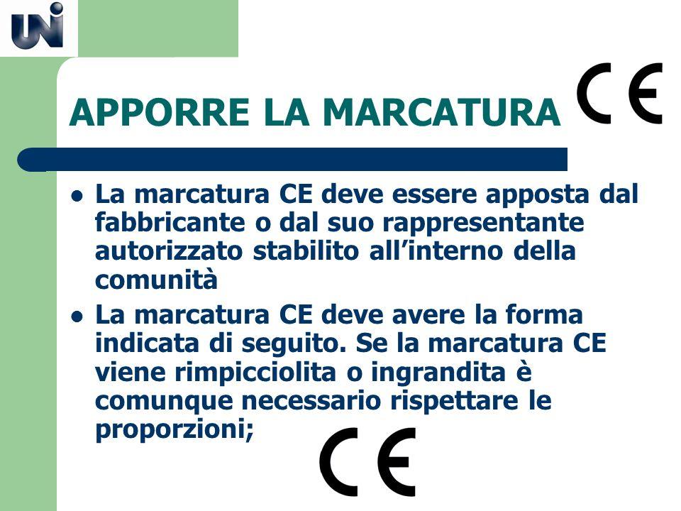 APPORRE LA MARCATURA La marcatura CE deve essere apposta dal fabbricante o dal suo rappresentante autorizzato stabilito allinterno della comunità La m