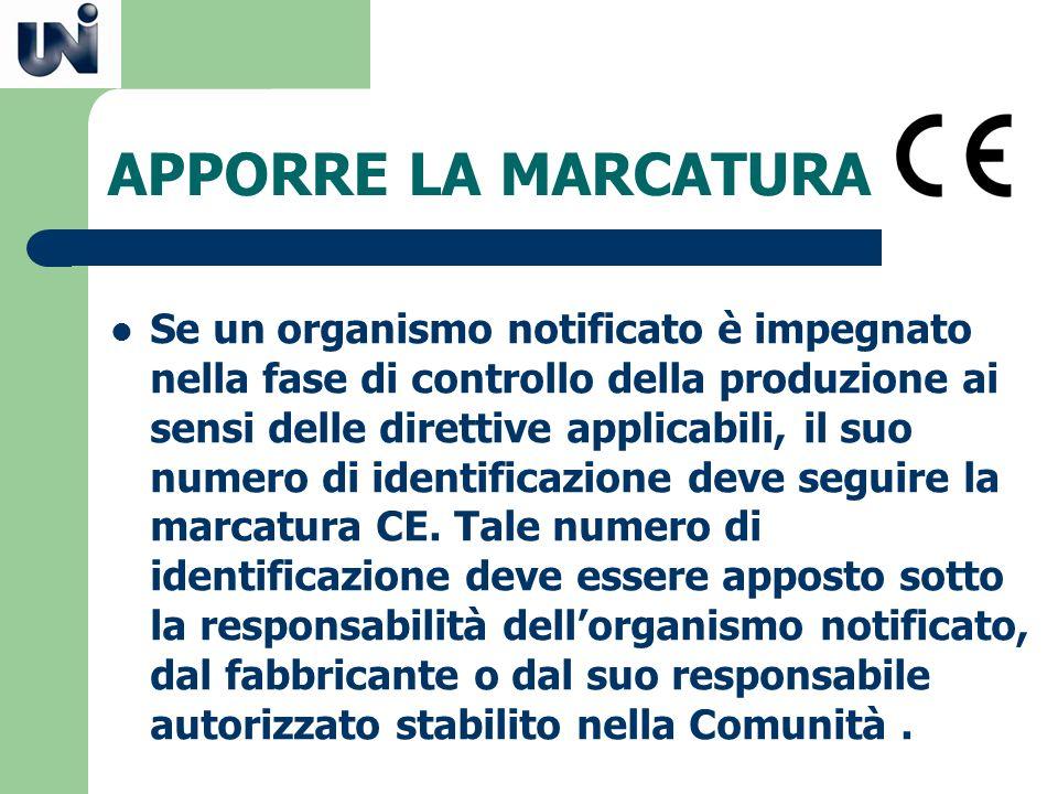 APPORRE LA MARCATURA Se un organismo notificato è impegnato nella fase di controllo della produzione ai sensi delle direttive applicabili, il suo nume