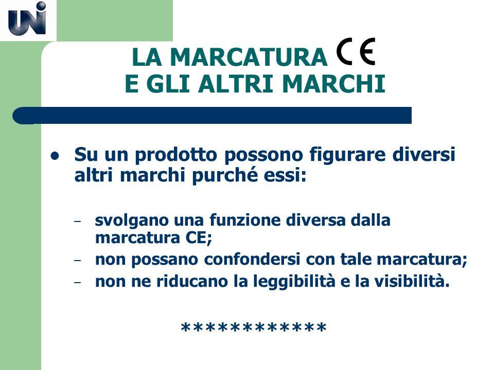 LA MARCATURA E GLI ALTRI MARCHI Su un prodotto possono figurare diversi altri marchi purché essi: – svolgano una funzione diversa dalla marcatura CE;