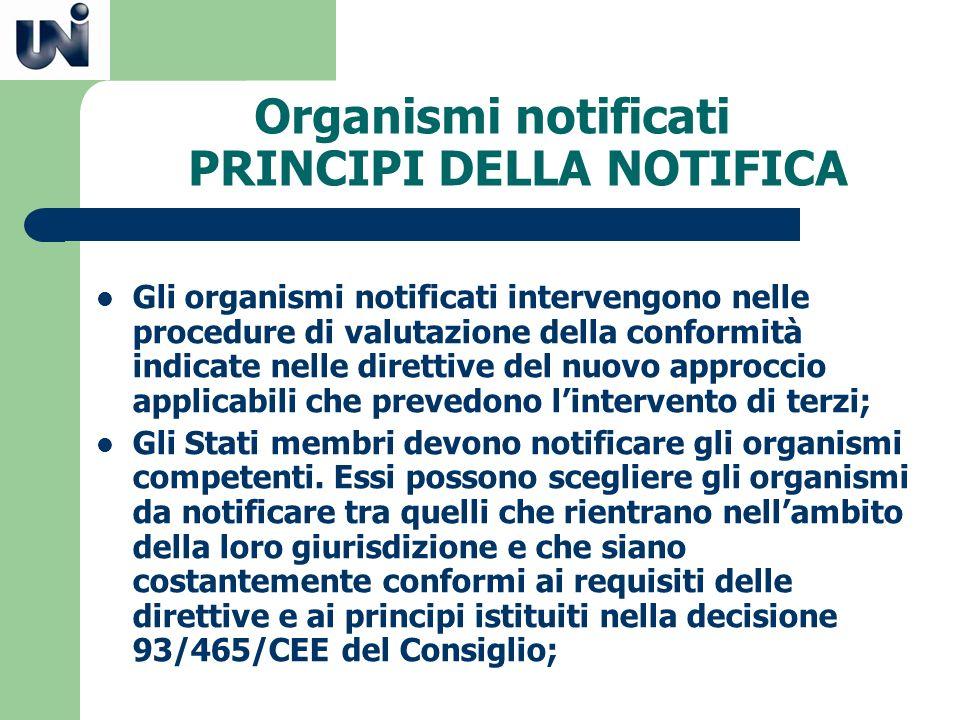 Organismi notificati PRINCIPI DELLA NOTIFICA Gli organismi notificati intervengono nelle procedure di valutazione della conformità indicate nelle dire