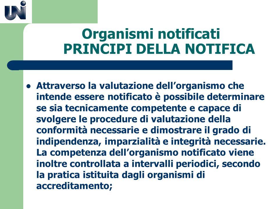 Organismi notificati PRINCIPI DELLA NOTIFICA Attraverso la valutazione dellorganismo che intende essere notificato è possibile determinare se sia tecn