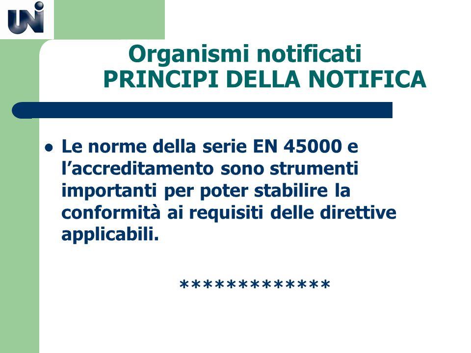 Organismi notificati PRINCIPI DELLA NOTIFICA Le norme della serie EN 45000 e laccreditamento sono strumenti importanti per poter stabilire la conformi