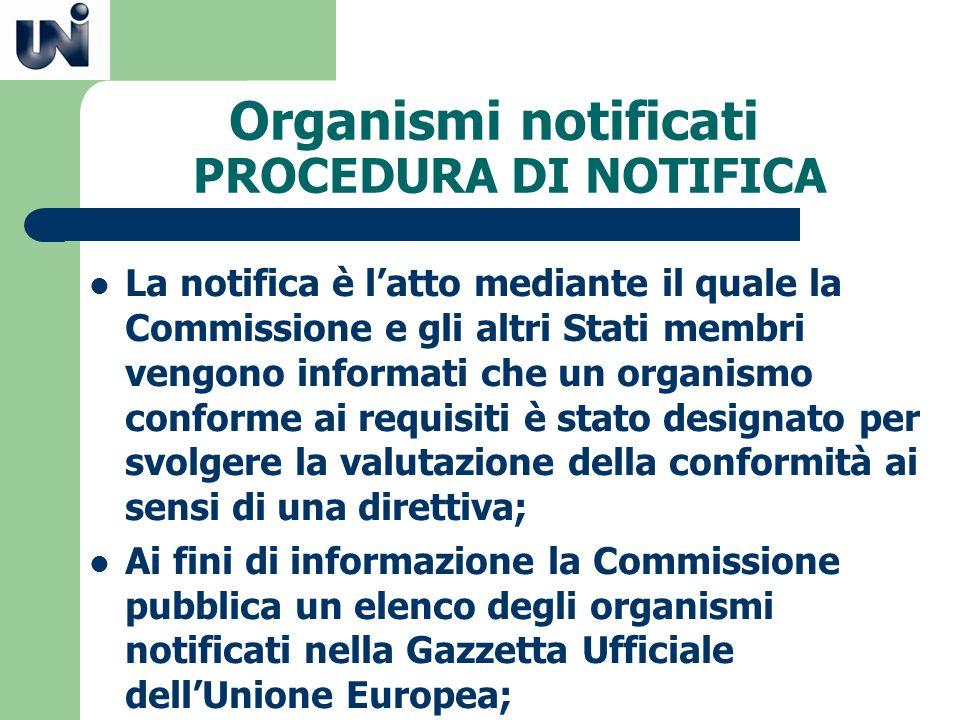 Organismi notificati PROCEDURA DI NOTIFICA La notifica è latto mediante il quale la Commissione e gli altri Stati membri vengono informati che un orga