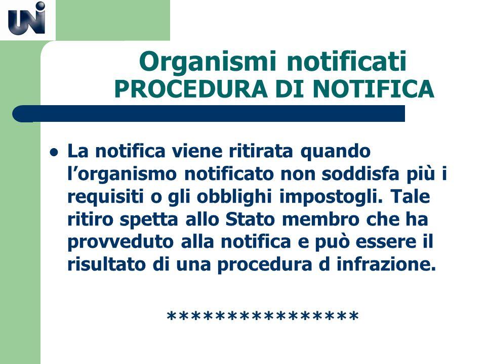 Organismi notificati PROCEDURA DI NOTIFICA La notifica viene ritirata quando lorganismo notificato non soddisfa più i requisiti o gli obblighi imposto