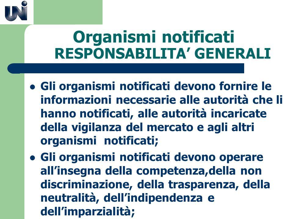 Organismi notificati RESPONSABILITA GENERALI Gli organismi notificati devono fornire le informazioni necessarie alle autorità che li hanno notificati,