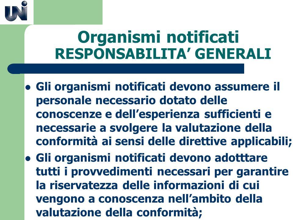 Organismi notificati RESPONSABILITA GENERALI Gli organismi notificati devono assumere il personale necessario dotato delle conoscenze e dellesperienza