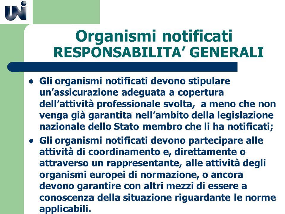 Organismi notificati RESPONSABILITA GENERALI Gli organismi notificati devono stipulare unassicurazione adeguata a copertura dellattività professionale
