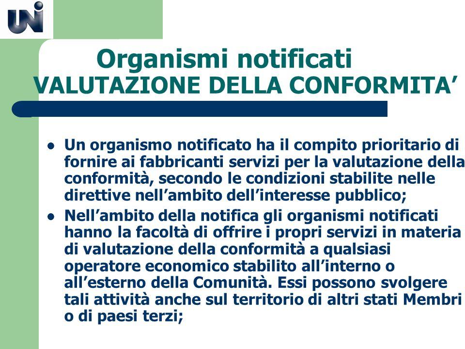 Organismi notificati VALUTAZIONE DELLA CONFORMITA Un organismo notificato ha il compito prioritario di fornire ai fabbricanti servizi per la valutazio