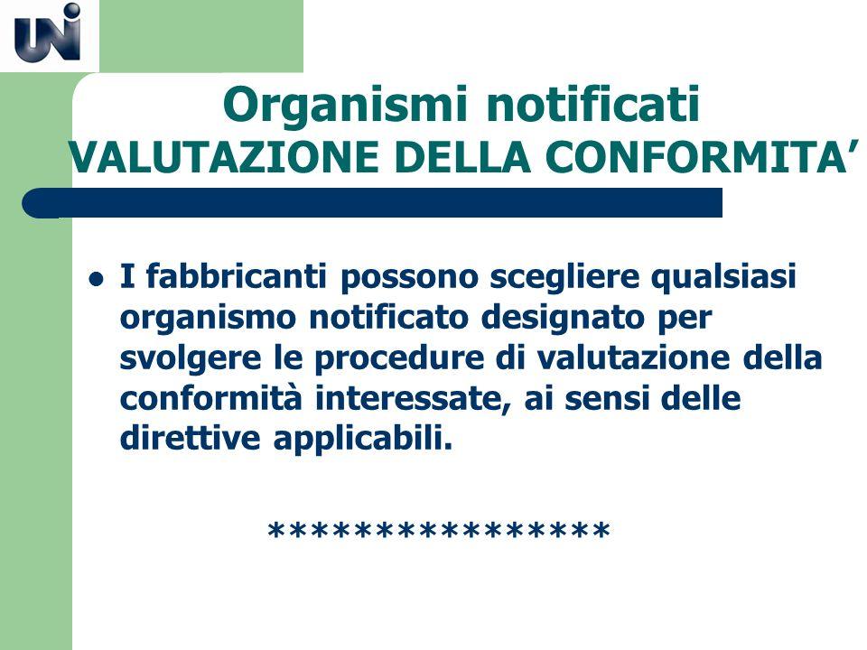 Organismi notificati VALUTAZIONE DELLA CONFORMITA I fabbricanti possono scegliere qualsiasi organismo notificato designato per svolgere le procedure d