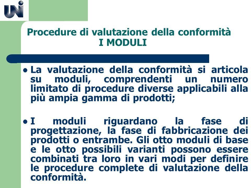 Procedure di valutazione della conformità I MODULI Ogni direttiva del nuovo approccio descrive la serie e il contenuto delle possibili procedure di valutazione della conformità che si ritiene garantiscano il necessario livello di protezione.