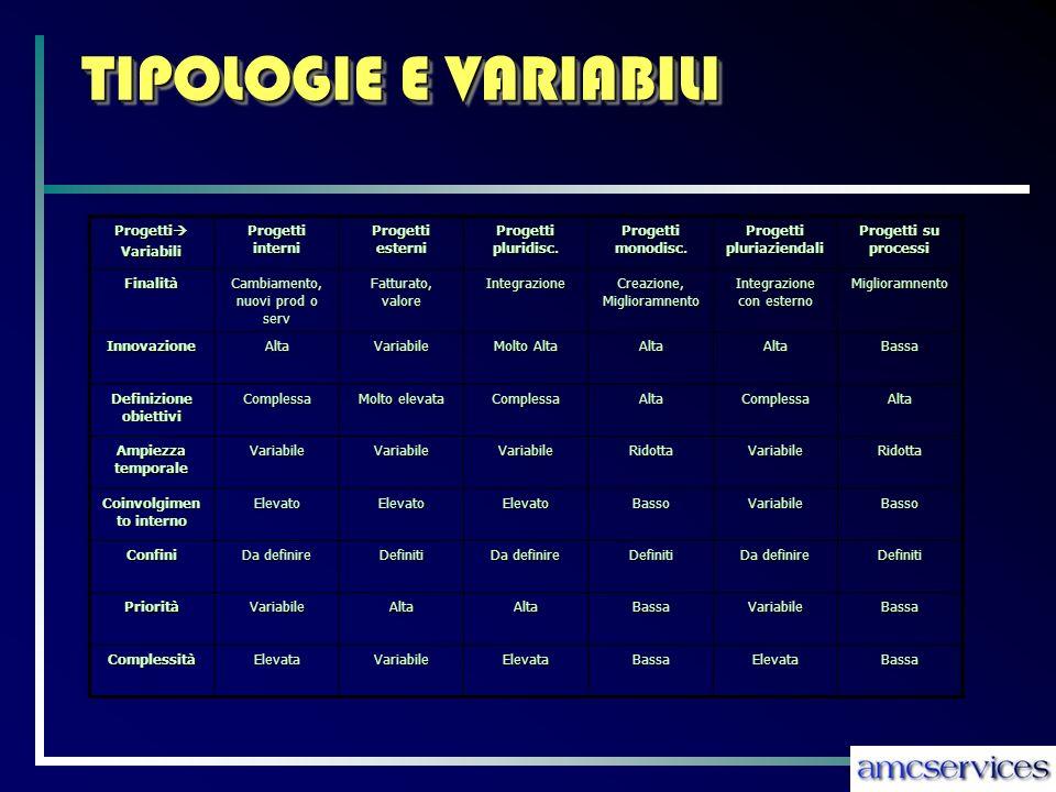 TIPOLOGIE E VARIABILI Progetti Progetti Variabili Progetti interni Progetti esterni Progetti pluridisc.
