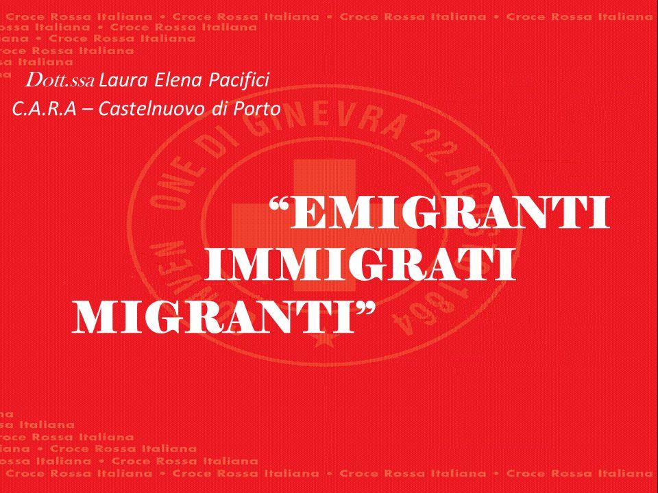 Dott.ssa Laura Elena Pacifici C.A.R.A – Castelnuovo di Porto EMIGRANTI IMMIGRATI MIGRANTI