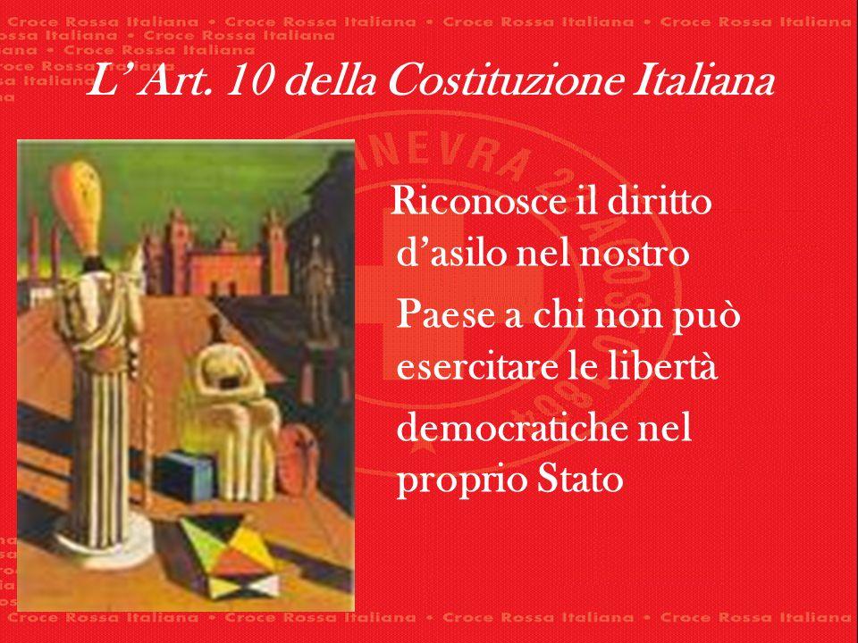 L Art. 10 della Costituzione Italiana Riconosce il diritto dasilo nel nostro Paese a chi non può esercitare le libertà democratiche nel proprio Stato