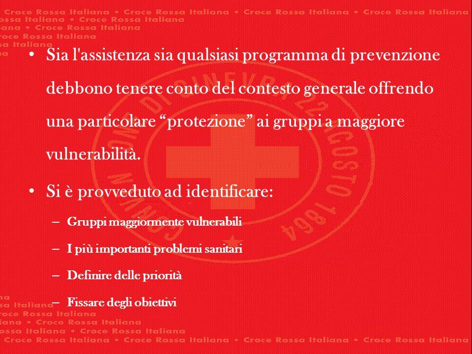 Sia l'assistenza sia qualsiasi programma di prevenzione debbono tenere conto del contesto generale offrendo una particolare protezione ai gruppi a mag
