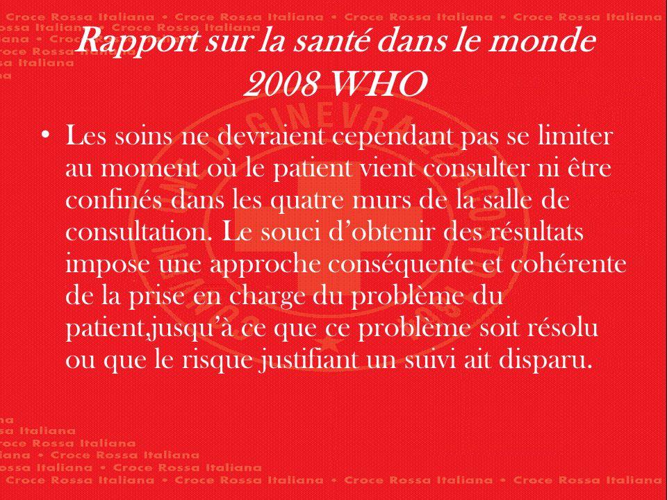 Rapport sur la santé dans le monde 2008 WHO Les soins ne devraient cependant pas se limiter au moment où le patient vient consulter ni être confinés dans les quatre murs de la salle de consultation.
