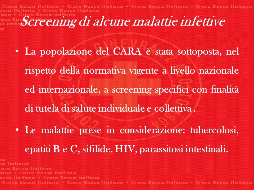 La popolazione del CARA è stata sottoposta, nel rispetto della normativa vigente a livello nazionale ed internazionale, a screening specifici con finalità di tutela di salute individuale e collettiva.