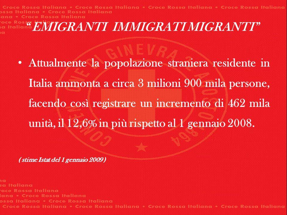 EMIGRANTI IMMIGRATI MIGRANTI Attualmente la popolazione straniera residente in Italia ammonta a circa 3 milioni 900 mila persone, facendo così registrare un incremento di 462 mila unità, il 12,6% in più rispetto al 1 gennaio 2008.