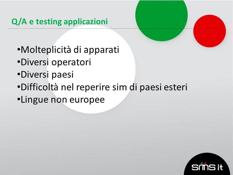 Q/A e testing applicazioni Molteplicità di apparati Diversi operatori Diversi paesi Difficoltà nel reperire sim di paesi esteri Lingue non europee