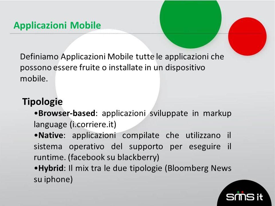 Applicazioni Mobile Definiamo Applicazioni Mobile tutte le applicazioni che possono essere fruite o installate in un dispositivo mobile.