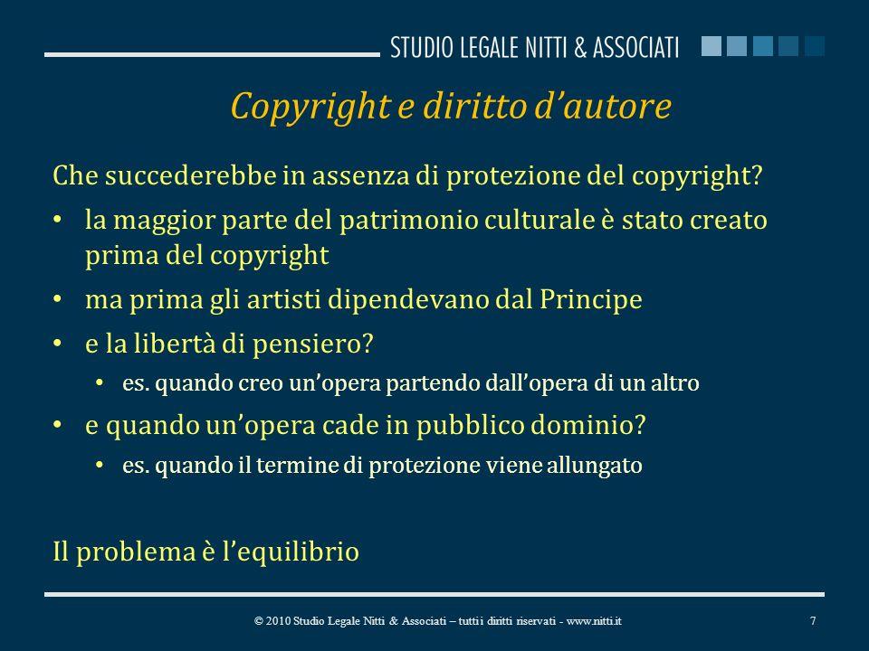 Copyright e diritto dautore Che succederebbe in assenza di protezione del copyright.