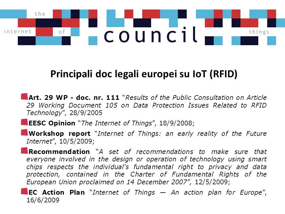 Principali doc legali europei su IoT (RFID) Art. 29 WP - doc.