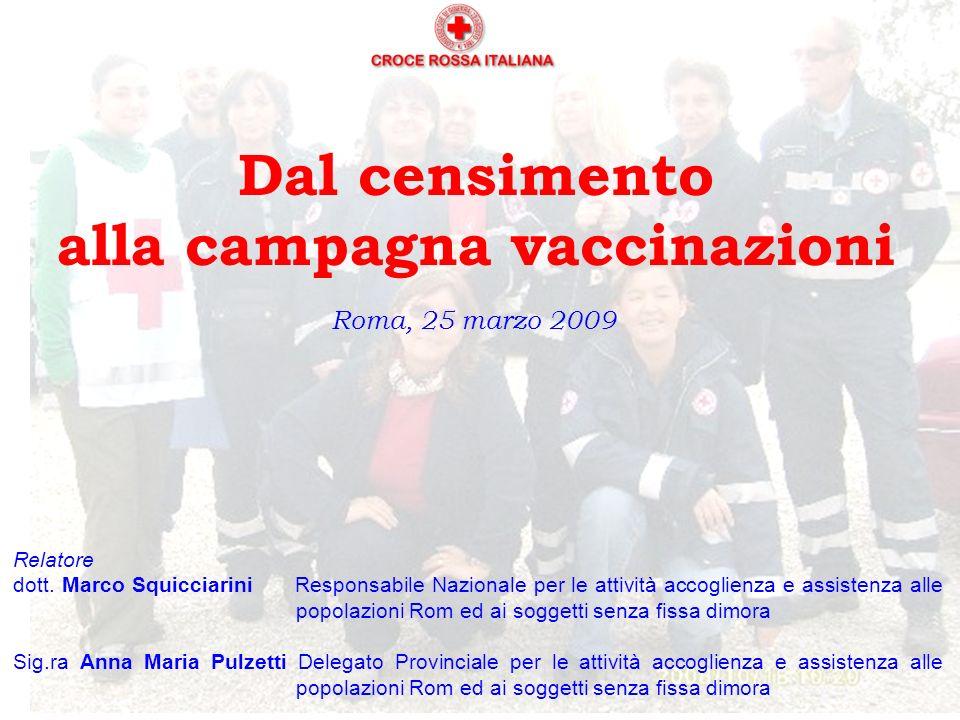 Dal censimento alla campagna vaccinazioni Roma, 25 marzo 2009 Relatore dott.