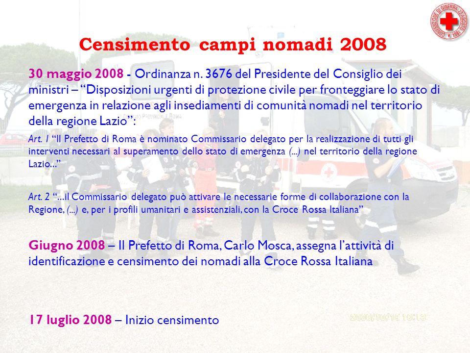 Censimento campi nomadi 2008 30 maggio 2008 - Ordinanza n.