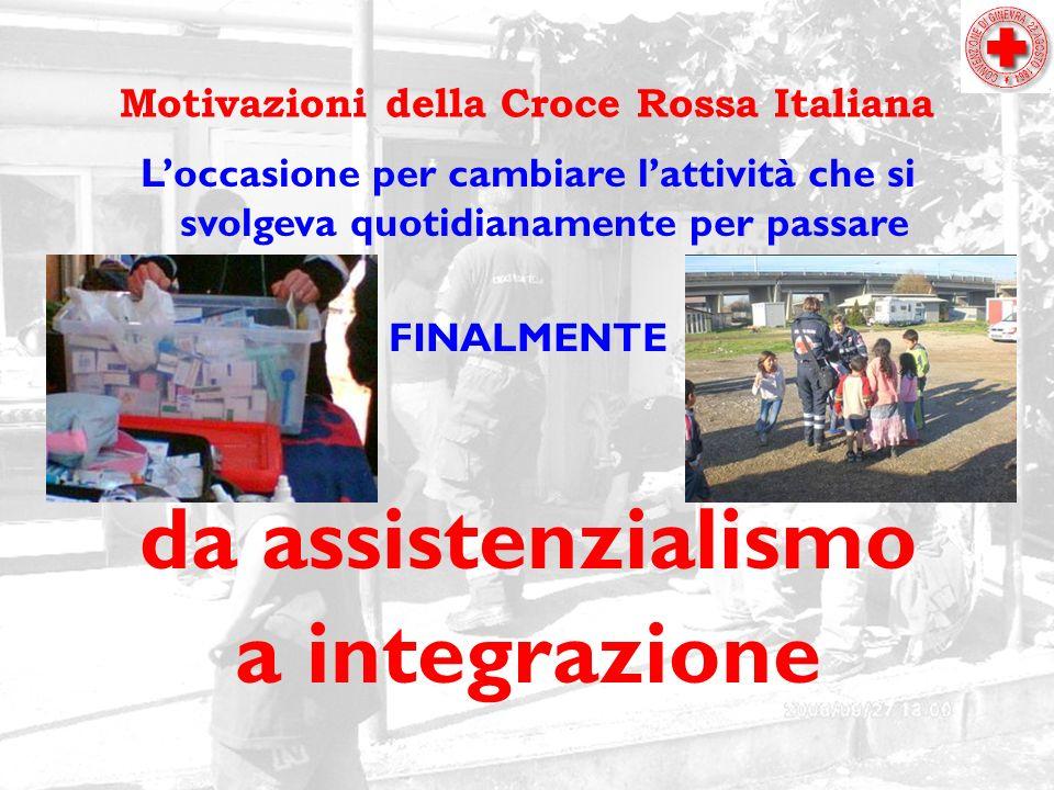 Motivazioni della Croce Rossa Italiana Loccasione per cambiare lattività che si svolgeva quotidianamente per passare FINALMENTE da assistenzialismo a integrazione