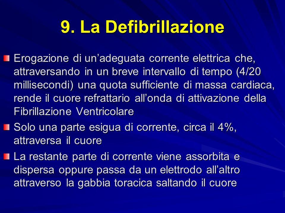9. La Defibrillazione Erogazione di unadeguata corrente elettrica che, attraversando in un breve intervallo di tempo (4/20 millisecondi) una quota suf