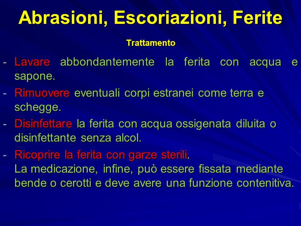 Abrasioni, Escoriazioni, Ferite Trattamento - Lavare abbondantemente la ferita con acqua e sapone.
