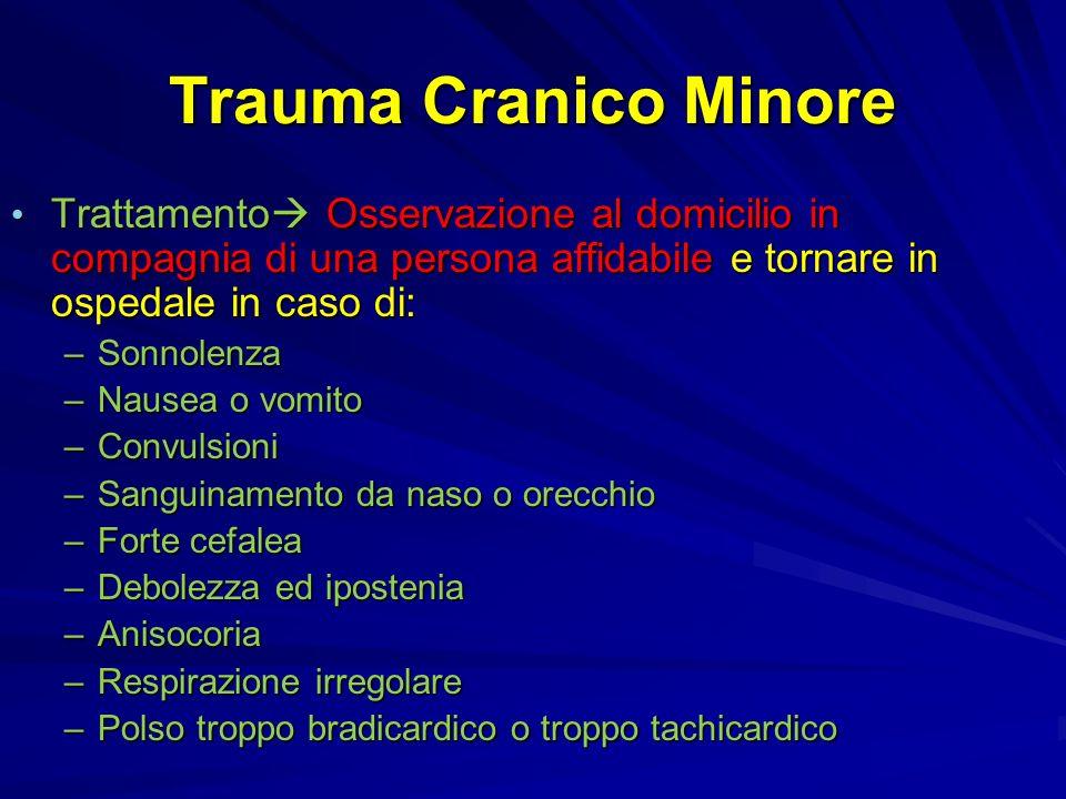 Trauma Cranico Minore Trattamento Osservazione al domicilio in compagnia di una persona affidabile e tornare in ospedale in caso di: Trattamento Osser