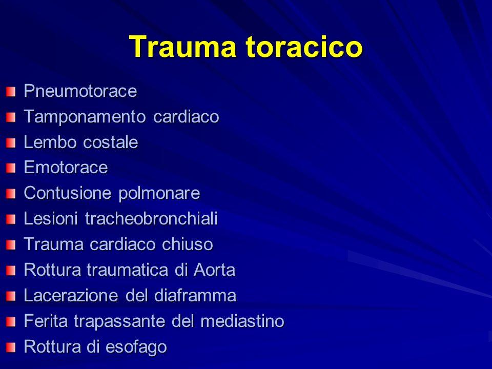 Trauma toracico Pneumotorace Tamponamento cardiaco Lembo costale Emotorace Contusione polmonare Lesioni tracheobronchiali Trauma cardiaco chiuso Rottura traumatica di Aorta Lacerazione del diaframma Ferita trapassante del mediastino Rottura di esofago