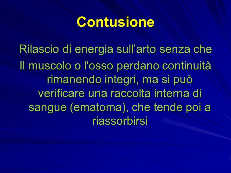 Contusione Rilascio di energia sullarto senza che Il muscolo o l osso perdano continuità rimanendo integri, ma si può verificare una raccolta interna di sangue (ematoma), che tende poi a riassorbirsi