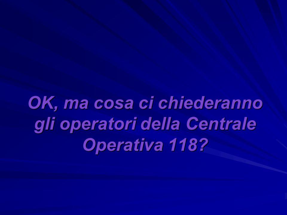 OK, ma cosa ci chiederanno gli operatori della Centrale Operativa 118?