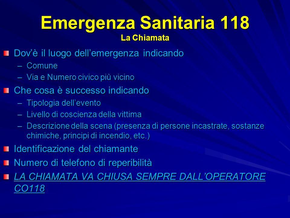 Emergenza Sanitaria 118 La Chiamata Dovè il luogo dellemergenza indicando –Comune –Via e Numero civico più vicino Che cosa è successo indicando –Tipol