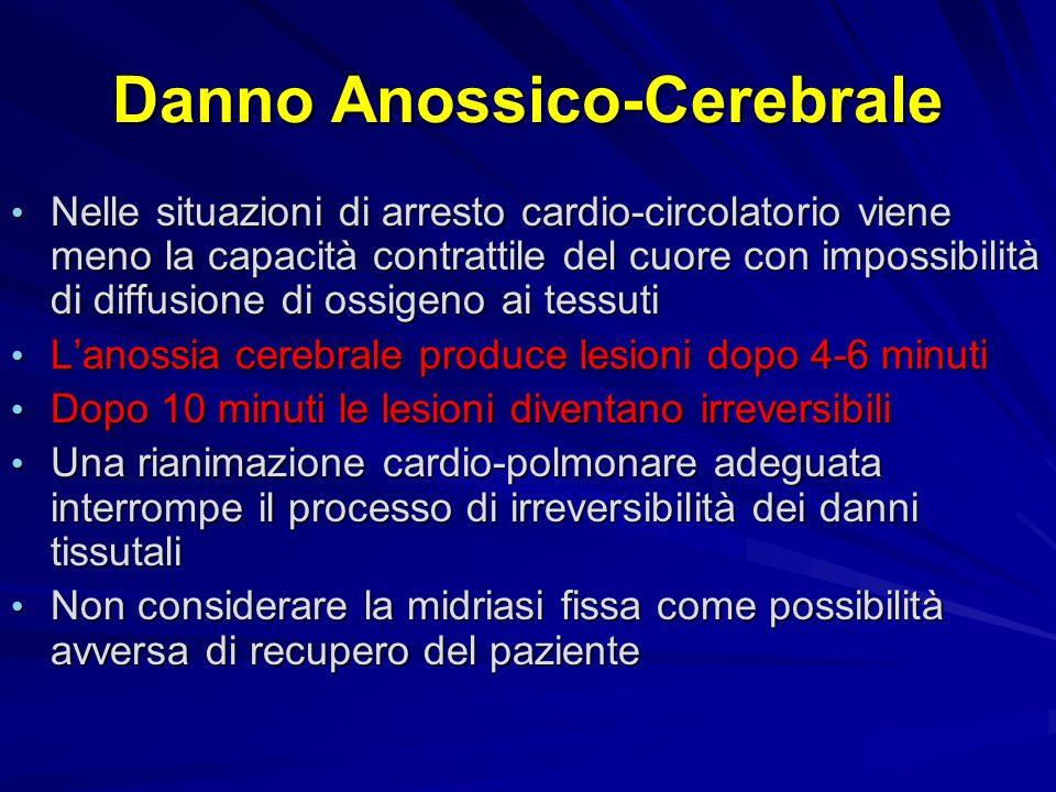 Danno Anossico-Cerebrale Nelle situazioni di arresto cardio-circolatorio viene meno la capacità contrattile del cuore con impossibilità di diffusione