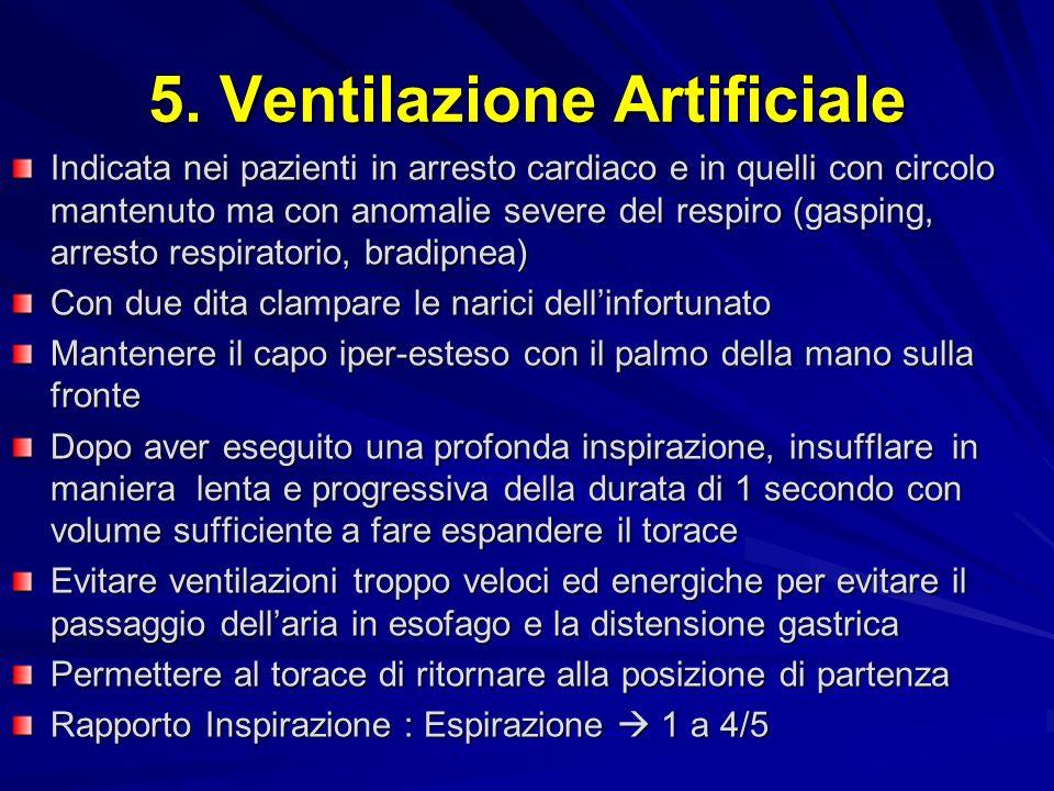 5. Ventilazione Artificiale Indicata nei pazienti in arresto cardiaco e in quelli con circolo mantenuto ma con anomalie severe del respiro (gasping, a