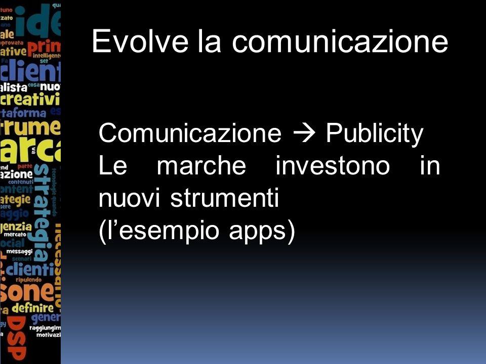 Evolve la comunicazione Comunicazione Publicity Le marche investono in nuovi strumenti (lesempio apps)