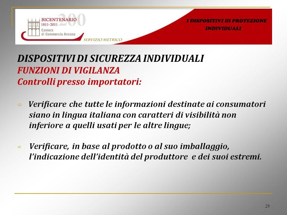 29 DISPOSITIVI DI SICUREZZA INDIVIDUALI FUNZIONI DI VIGILANZA Controlli presso importatori: Verificare che tutte le informazioni destinate ai consumat