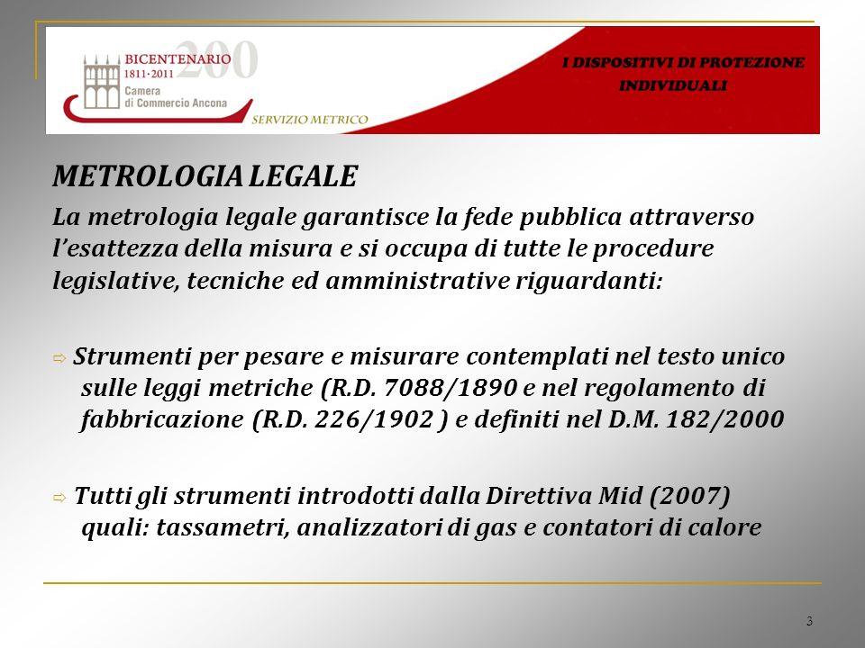 3 METROLOGIA LEGALE La metrologia legale garantisce la fede pubblica attraverso lesattezza della misura e si occupa di tutte le procedure legislative,
