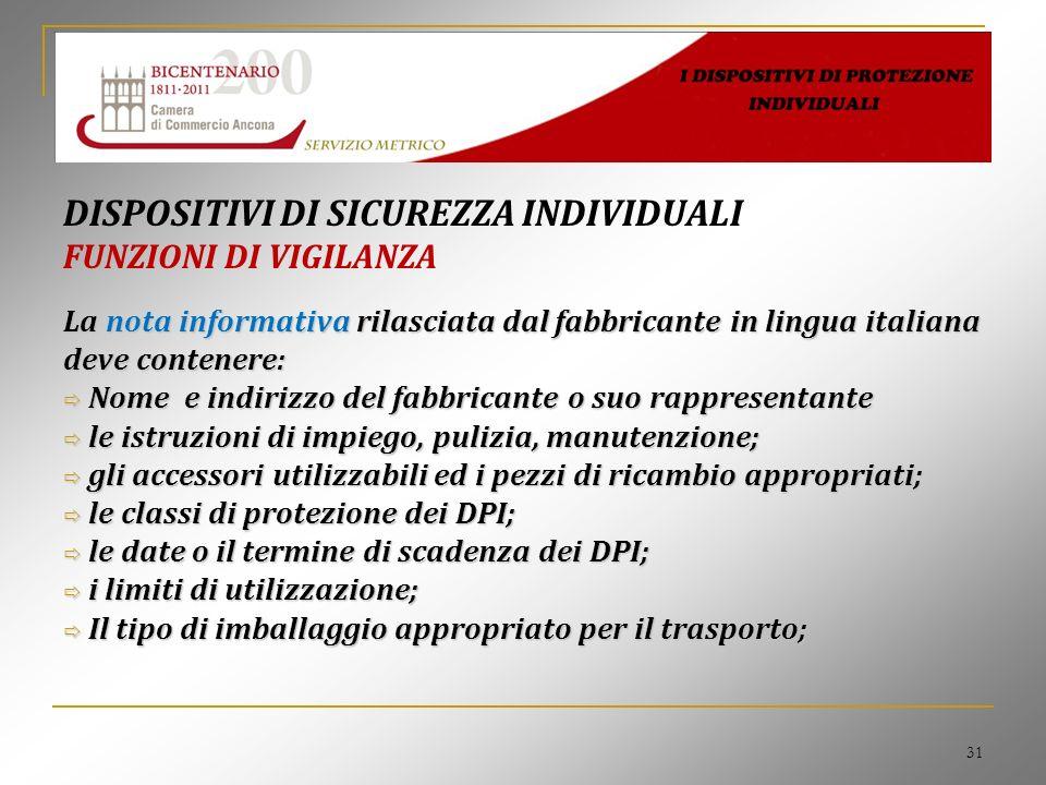 31 DISPOSITIVI DI SICUREZZA INDIVIDUALI FUNZIONI DI VIGILANZA La nota informativa rilasciata dal fabbricante in lingua italiana deve contenere: Nome e