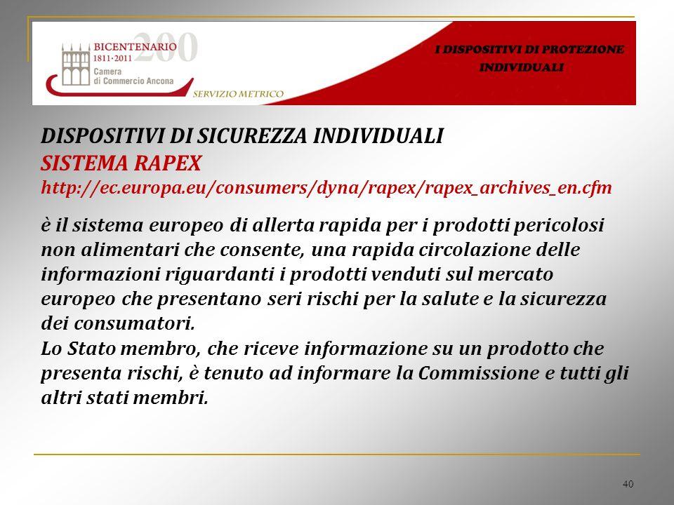 40 DISPOSITIVI DI SICUREZZA INDIVIDUALI SISTEMA RAPEX http://ec.europa.eu/consumers/dyna/rapex/rapex_archives_en.cfm è il sistema europeo di allerta r