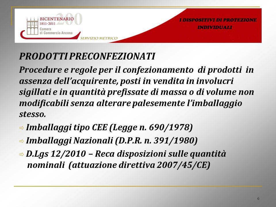 6 PRODOTTI PRECONFEZIONATI Procedure e regole per il confezionamento di prodotti in assenza dellacquirente, posti in vendita in involucri sigillati e