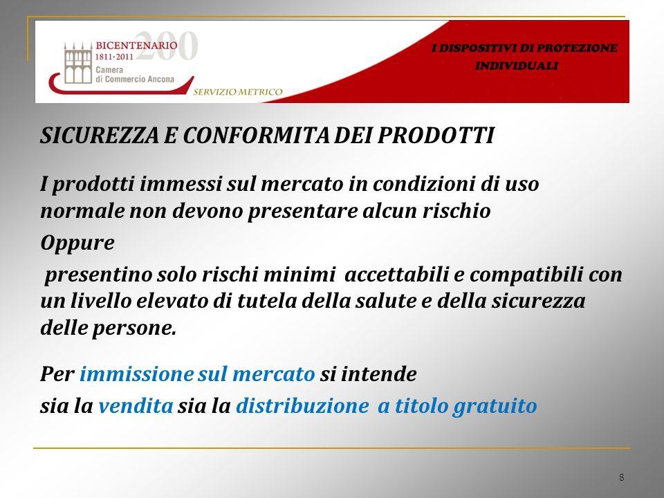 9 DISPOSITIVI DI SICUREZZA INDIVIDUALI I dispositivi di protezione individuale (DPI) sono quei prodotti destinati ad essere indossati o tenuti da una persona affinché essa sia protetta nei confronti di uno o più rischi che potrebbero metterne in pericolo la salute e la sicurezza La direttiva 89/686/CEE è recepita in Italia dal D.Lgs 475/92; Modificata dalle direttive : 93/68/CEE - 93/95/CEE- 96/58/CE recepite dal D.Lgs 10/97.