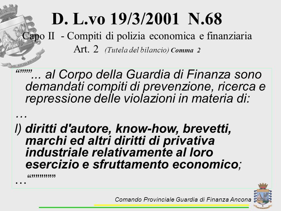 D. L.vo 19/3/2001 N.68 Capo II - Compiti di polizia economica e finanziaria Art. 2 (Tutela del bilancio) Comma 2... al Corpo della Guardia di Finanza