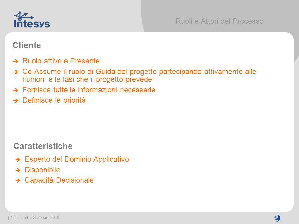 [ 12 ] - Better Software 2010 Ruoli e Attori del Processo Cliente Ruolo attivo e Presente Co-Assume il ruolo di Guida del progetto partecipando attiva